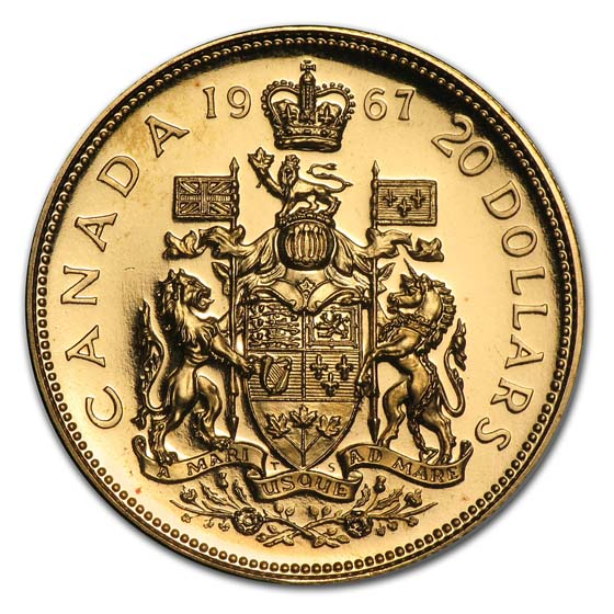Canada 1967 .5288 AGW Proof or BU Gold $20 (Confederation)